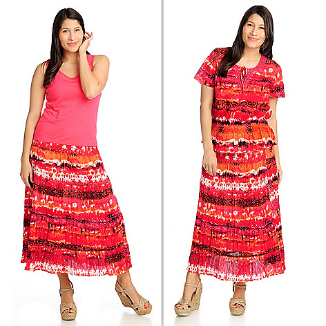 712-607 - OSO Casuals™ Printed Gauze Top, Tiered Skirt & Solid Knit Tank Three-Piece Set
