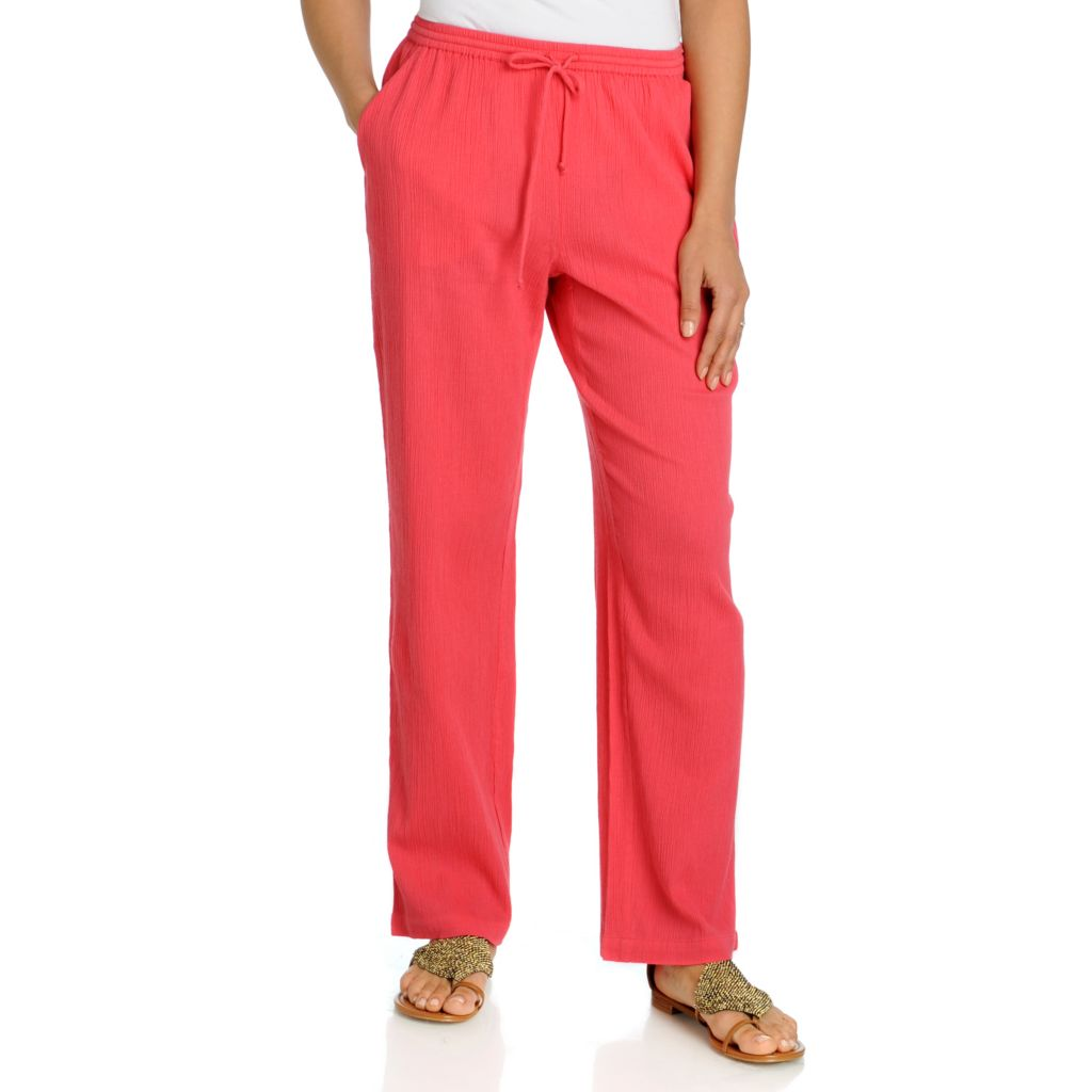 712-608 - OSO Casuals Cotton Gauze Drawstring Waist Slash Pockets Relaxed Pants