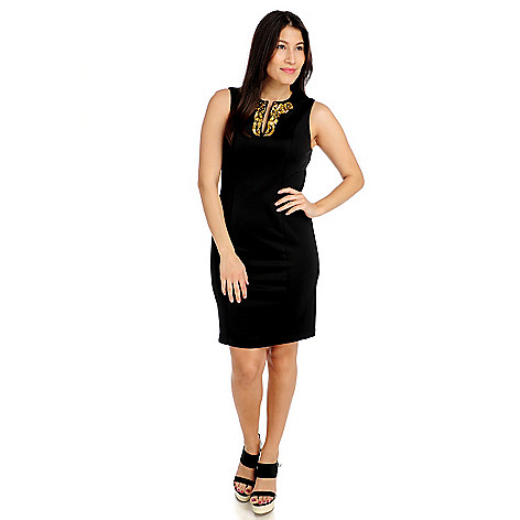 712-609 - Love, Carson by Carson Kressley Double Knit Sleeveless Beaded Shift Dress
