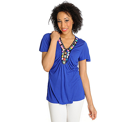 712-620 - Love, Carson by Carson Kressley Stretch Knit Short Sleeved Embellished Top