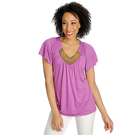 712-623 - Love, Carson by Carson Kressley Stretch Knit Raglan Sleeved Embellished Top