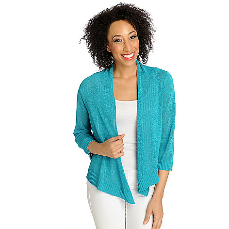 712-624 - Love, Carson by Carson Kressley Tape Yarn 3/4 Sleeved Open Cardigan Sweater