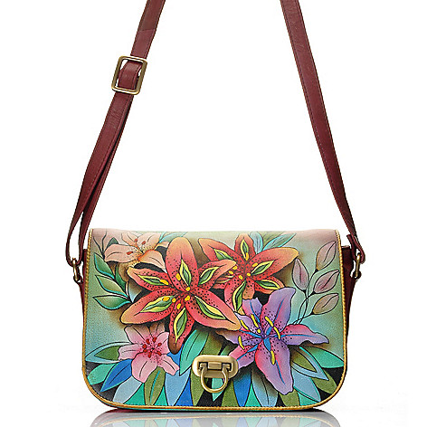 712-627 - Anuschka Hand-Painted Leather Flap Over Accordion Style Cross Body Bag