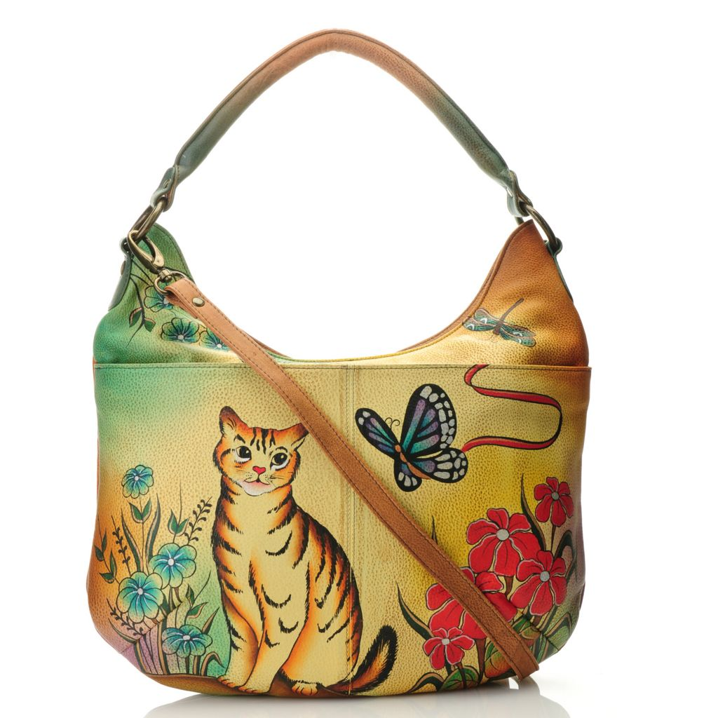 712-630 - Anuschka Hand-Painted Leather Zip Top Large Hobo Handbag