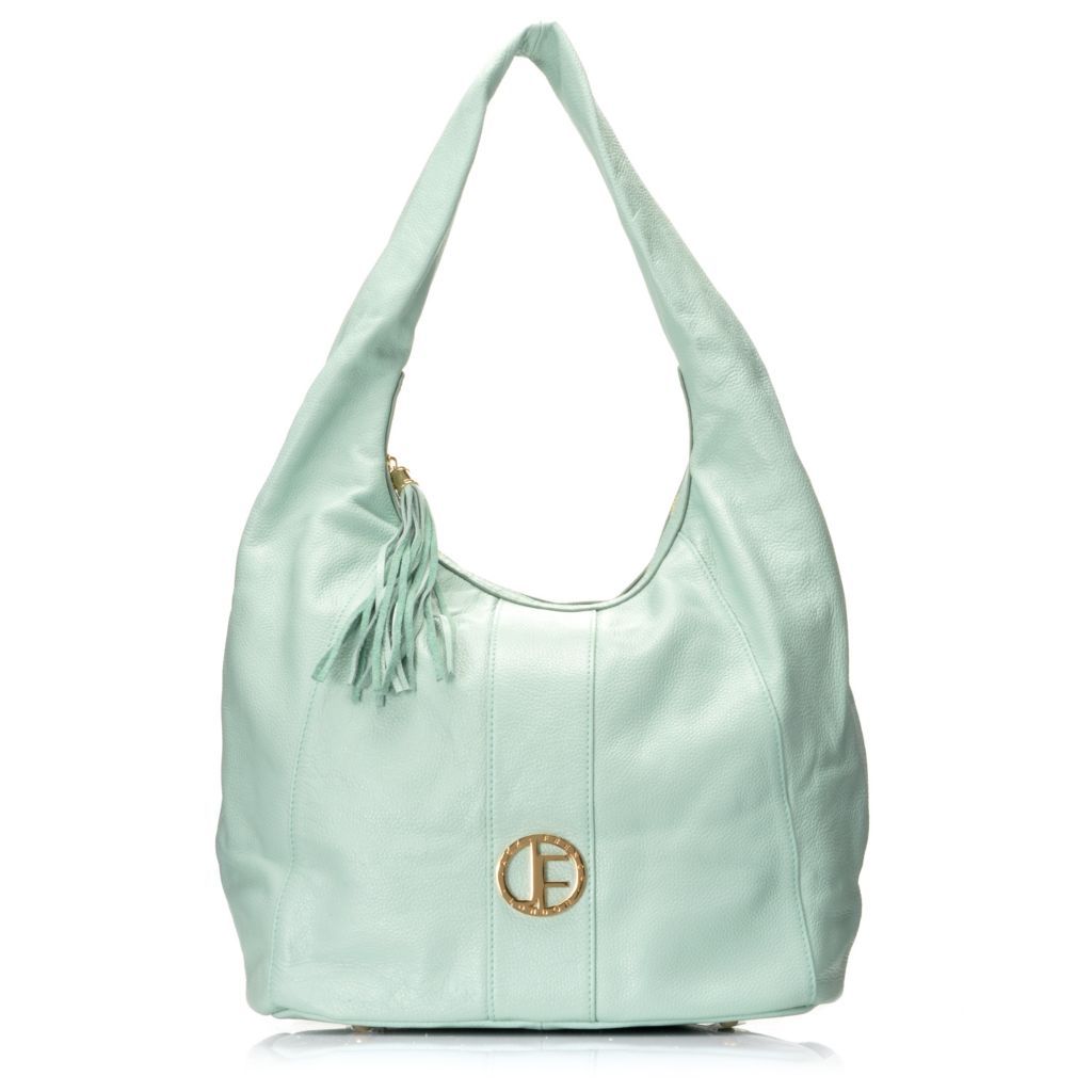 712-638 - Jack French London Pebbled Leather Tasseled Zip Top Bucket Bag
