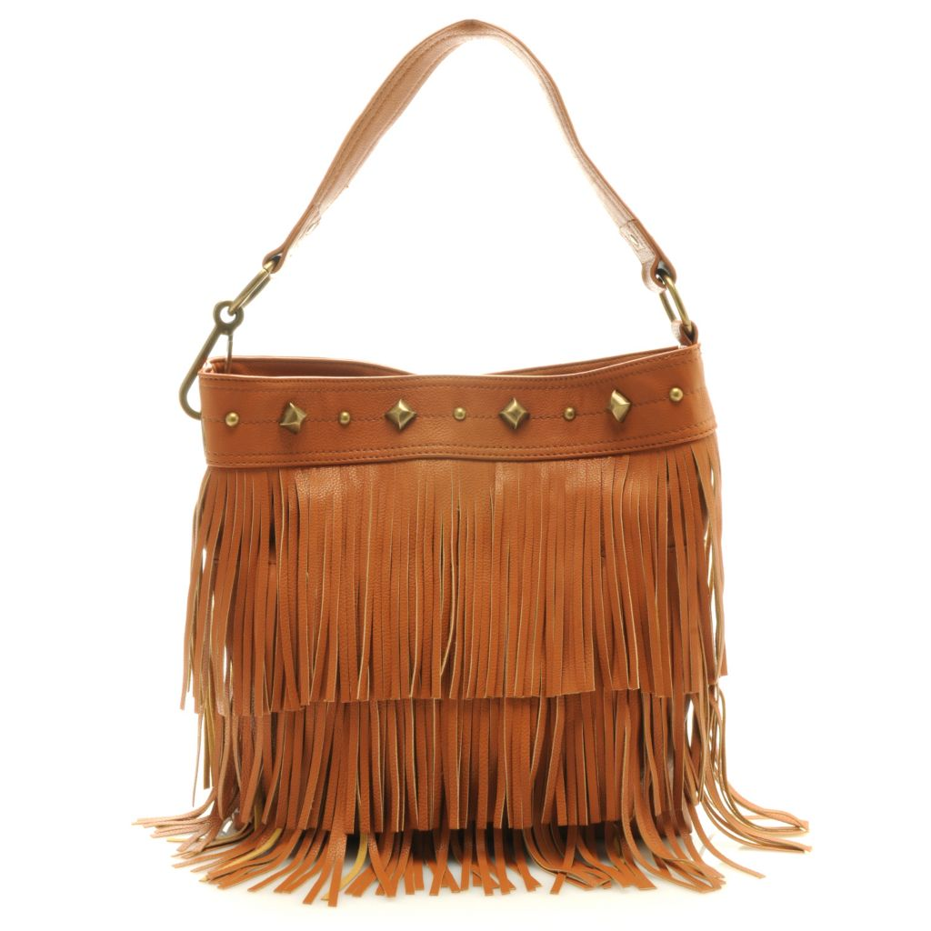 "712-656 - Carlos by Carlos Santana ""Amilia"" Fringe & Stud Detailed Tote Bag"