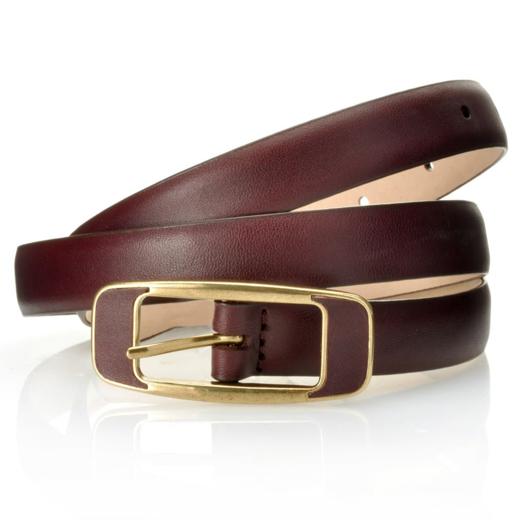 712-662 - Brooks Brothers® Matte Leather Rectangle Buckle Belt