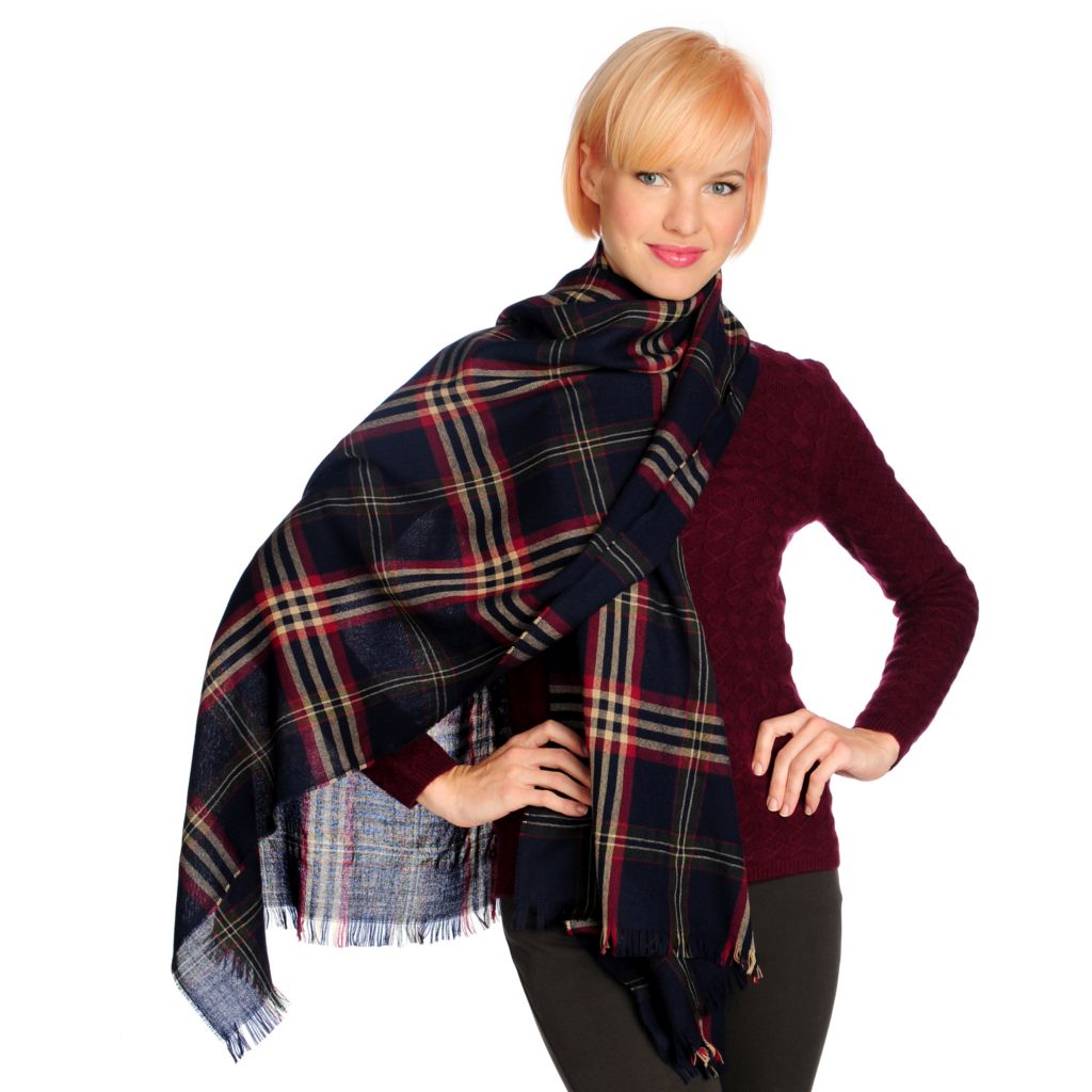 "712-666 - Brooks Brothers® 100% Wool 78"" x 28"" Fringe Detailed Plaid Wrap"