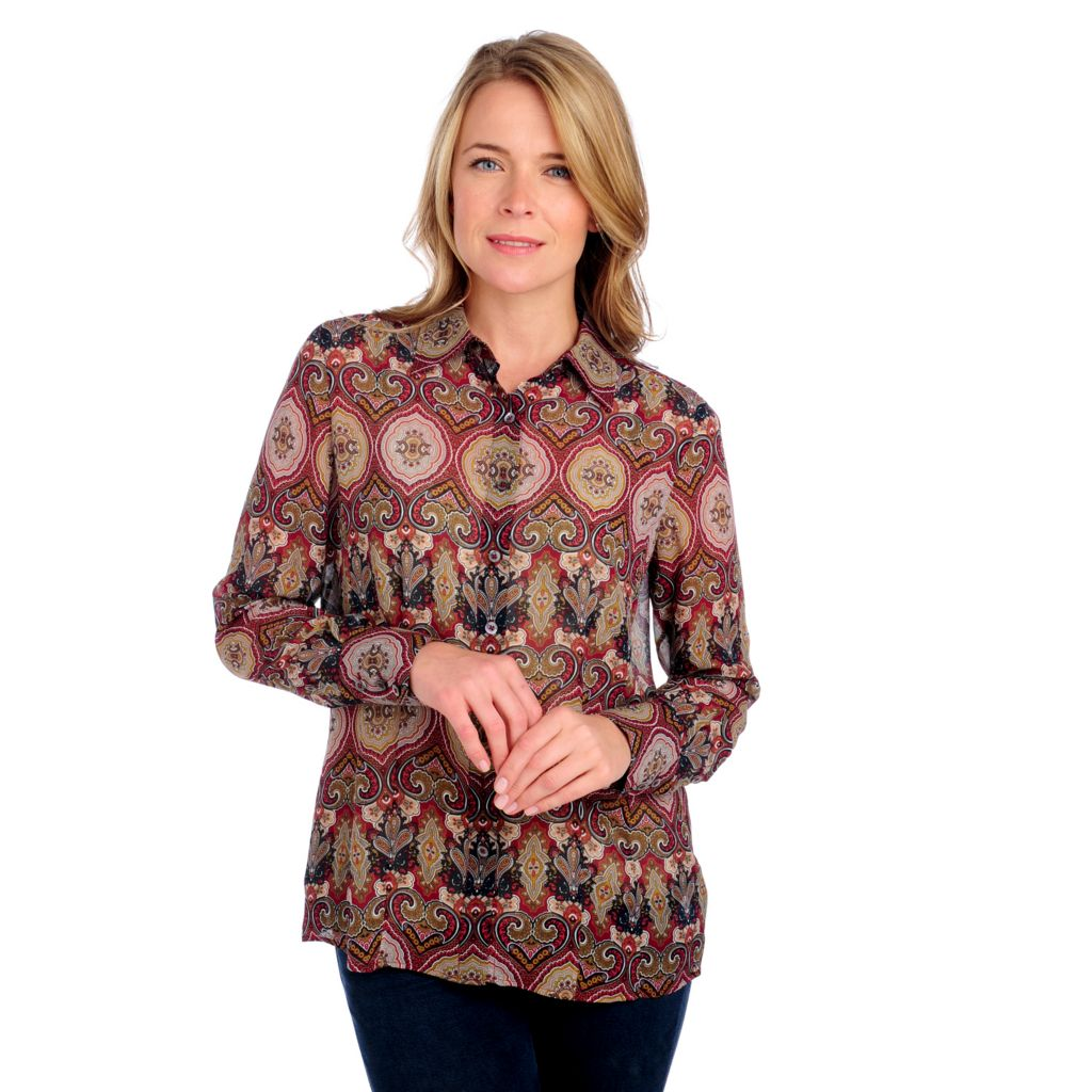712-684 - Brooks Brothers® 100% Silk Long Sleeved Paisley Print Blouse w/ Cami