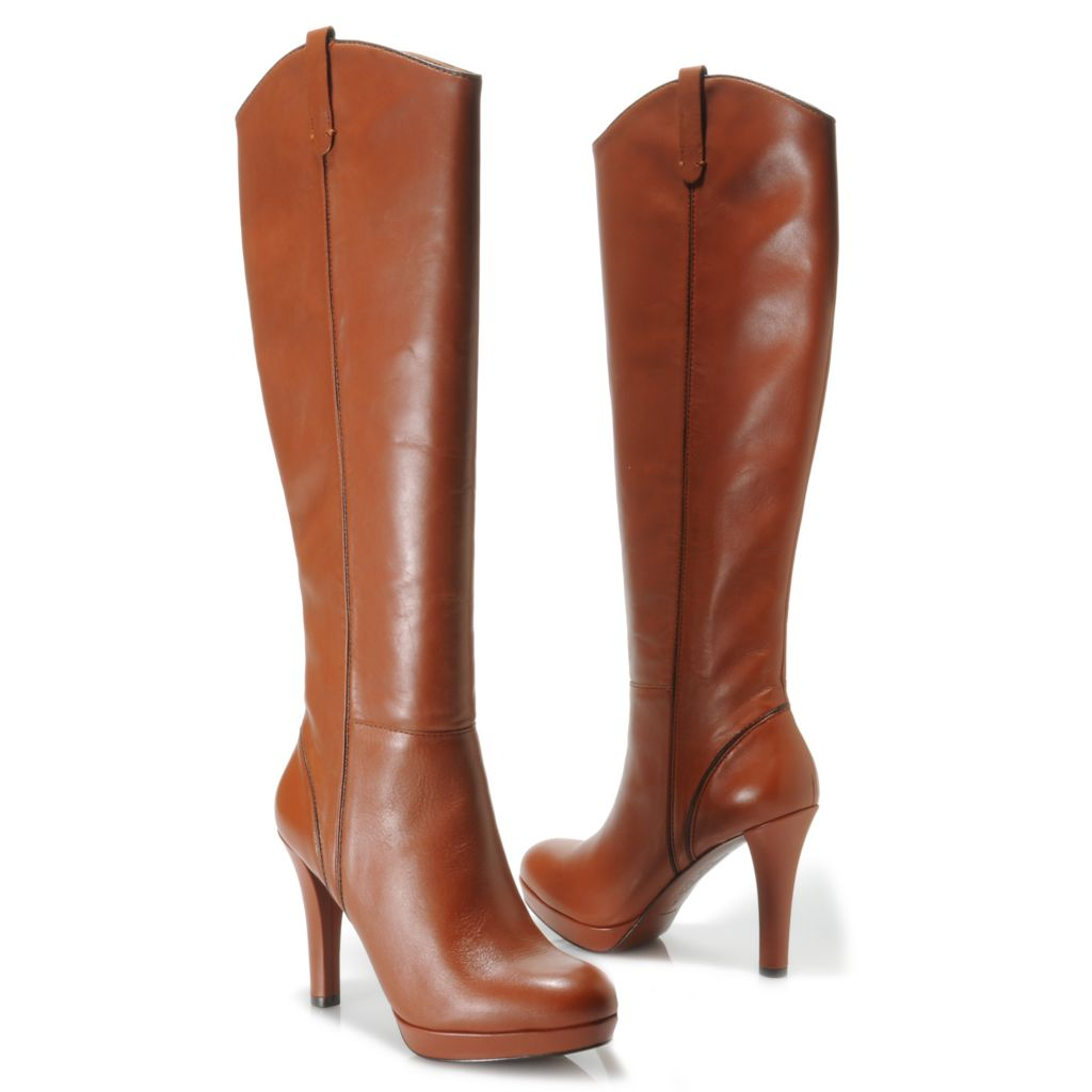 712-694 - Brooks Brothers® Calfskin Leather Side Zip Tall Boots