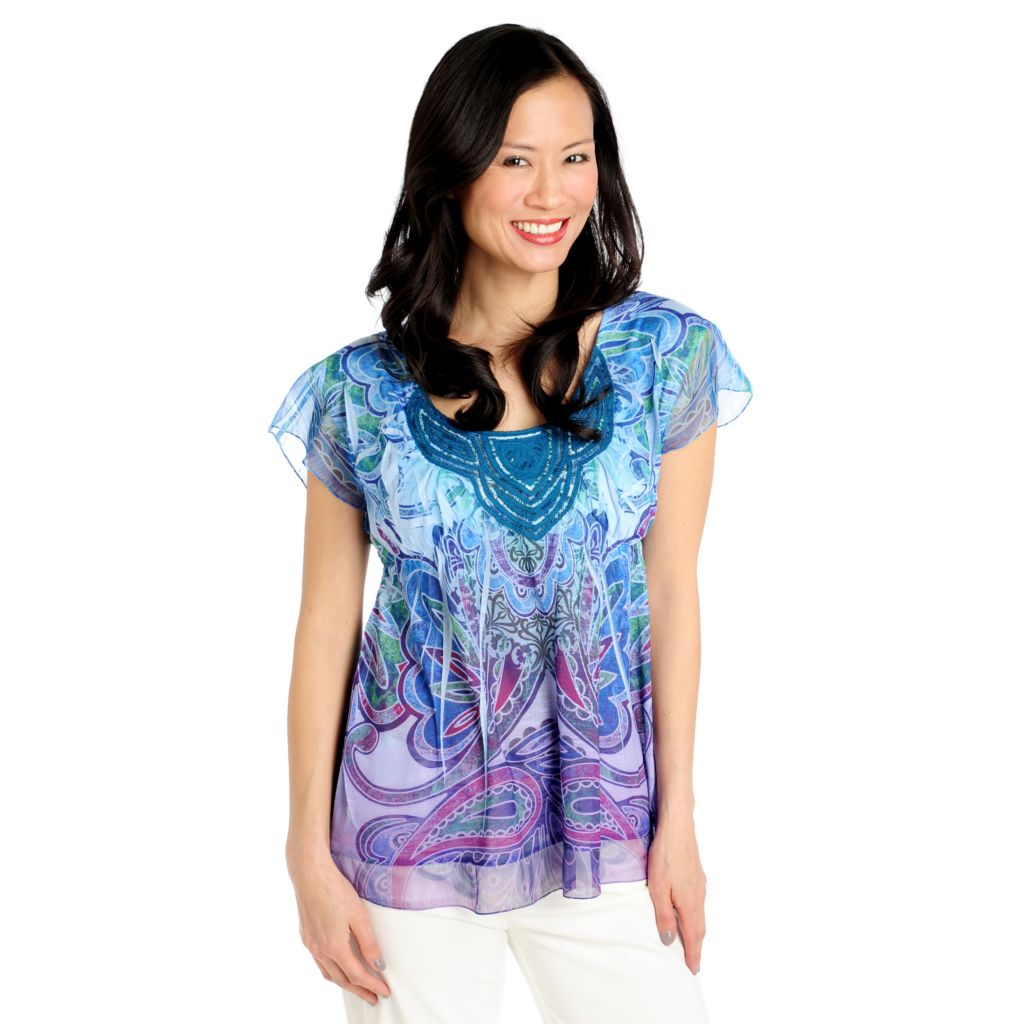 712-710 - One World Stretch Knit Flutter Sleeved Sequin Applique Chiffon Trim Top