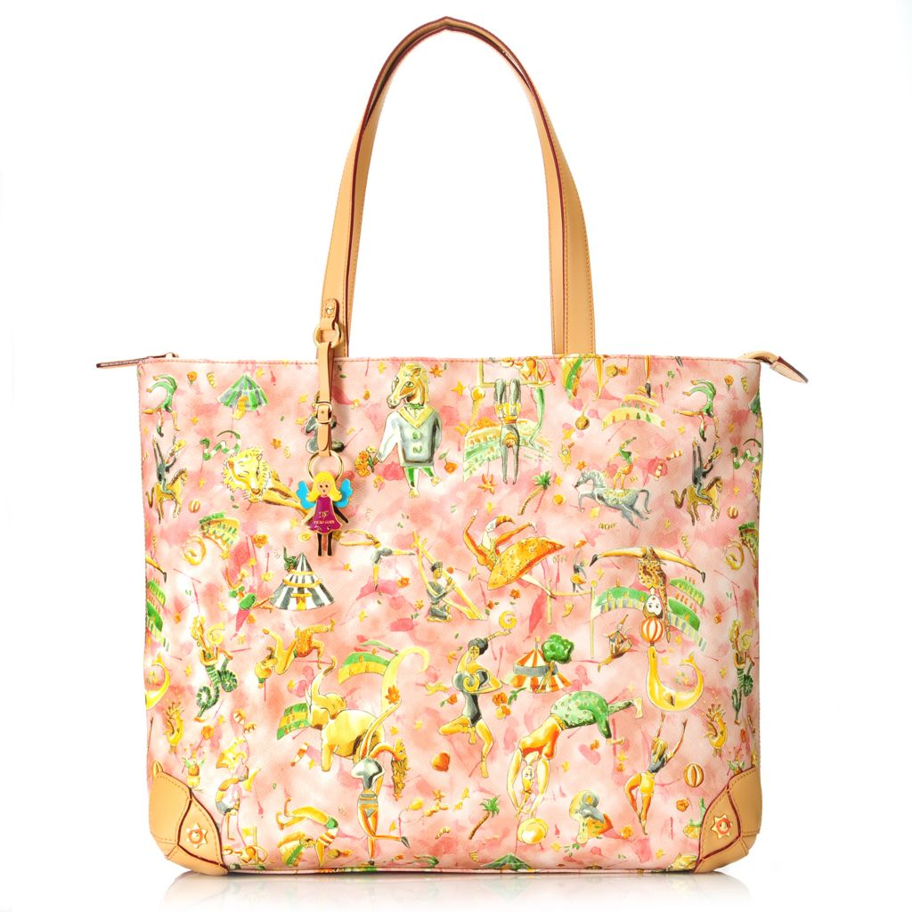 712-723 - Piero Guidi Coated Canvas Magic Circus Cherie Collection Large Tote Bag