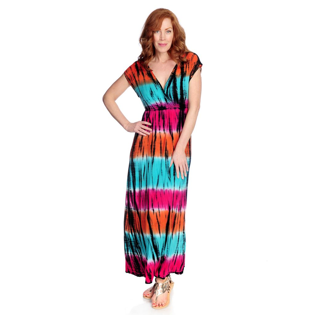 712-732 - WD.NY Stretch Knit Cap Sleeved Tie-dyed Maxi Dress