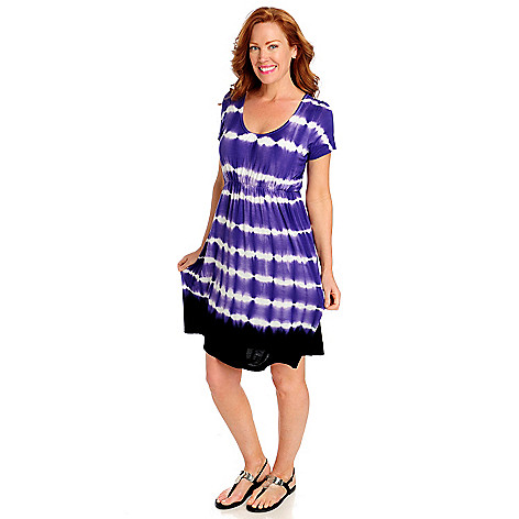 712-733 - WD.NY Stretch Knit Short Sleeved Scoop Neck Tie-dyed Dress