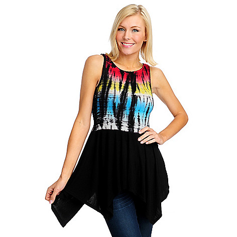 712-736 - WD.NY Stretch Knit Sleeveless Tie-dyed Sharkbite Tunic