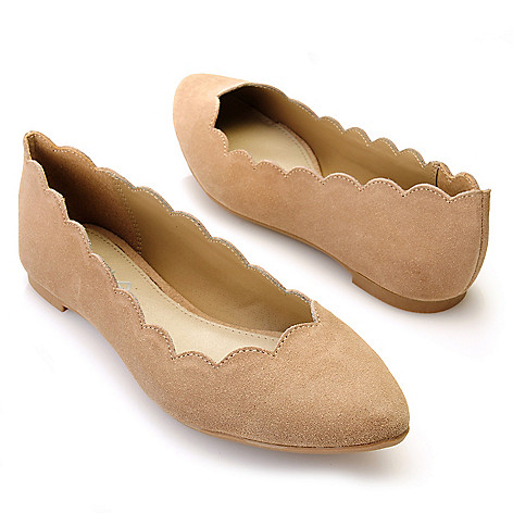 712-739 - MIA Suede Leather ''Abie'' Scalloped Ballet Flats