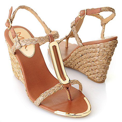 712-743 - MIA ''Tiffany'' Braided T-strap Wedge Sandals