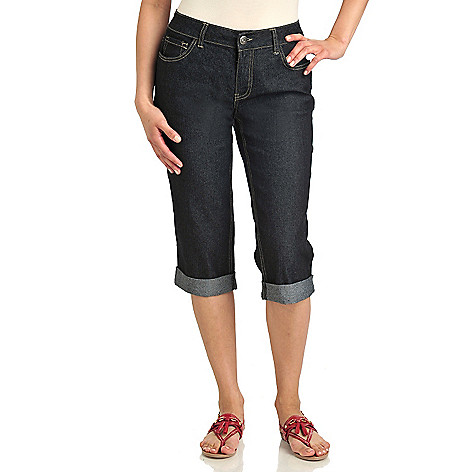 712-747 - Baccini Stretch Denim Cuffed Hem Five-Pocket Capri Pants