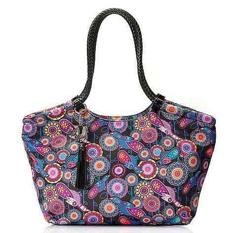712-769 - BollyDoll™ Printed Double Braided Handle Zip Top Large East-West Tote Bag