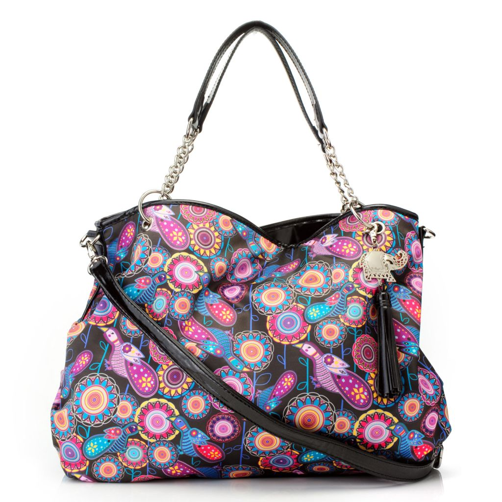 712-773 - BollyDoll™ Printed Chain Detailed Tote Bag w/ Cross Body Strap