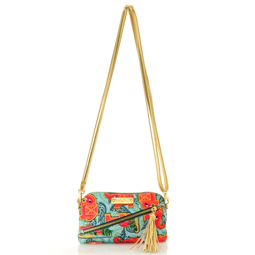 712-774 - BollyDoll™ Printed Zip Top Tasseled Clutch w/ Removable Shoulder Strap