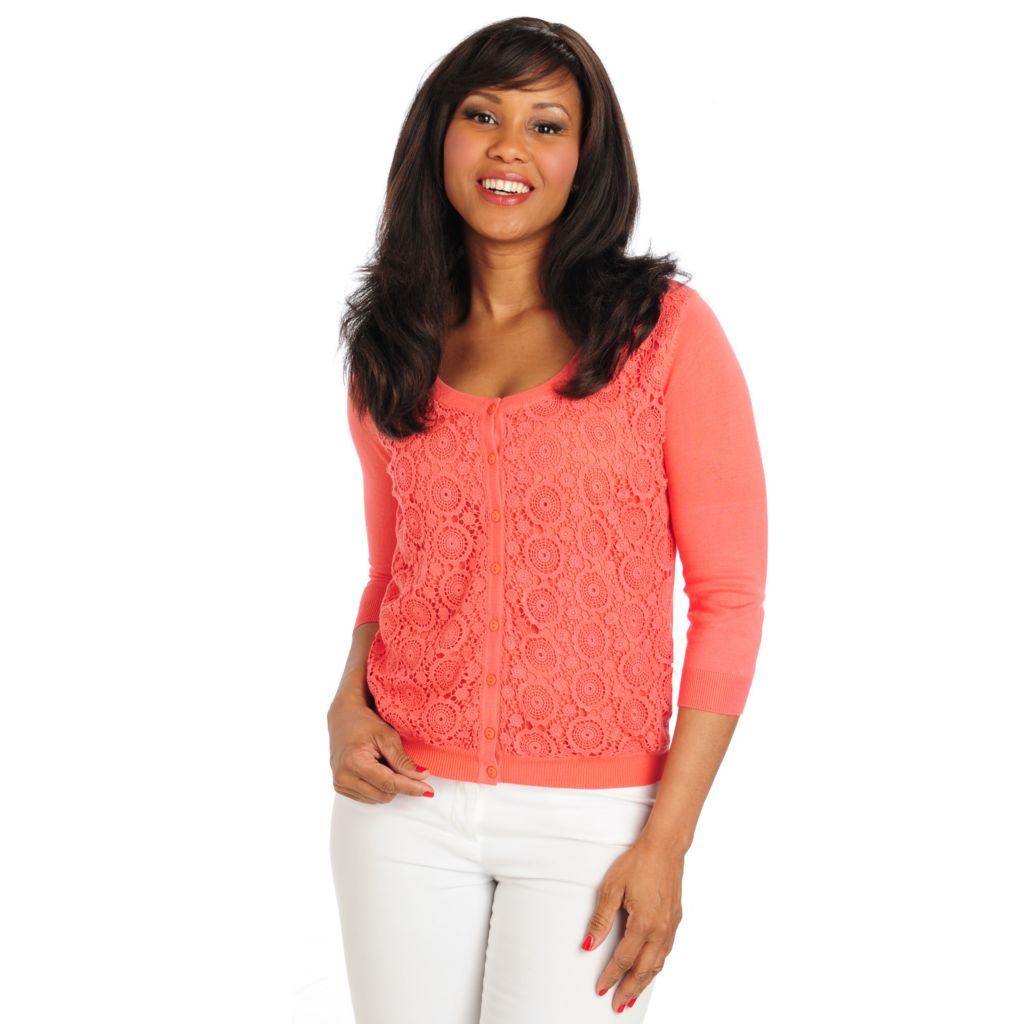 712-778 - Geneology Fine Gauge Knit 3/4 Sleeved Crochet Front Cardigan Sweater