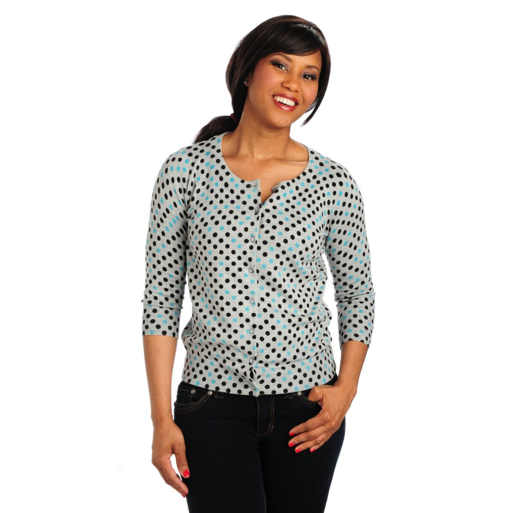 712-781 - Geneology Fine Gauge Knit 3/4 Sleeved Polka Dot Print Cardigan Sweater