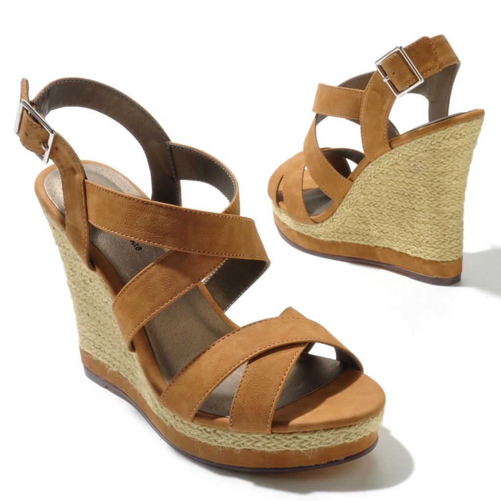 "712-814 - Michael Antonio® Raffia-Wrapped ""Glennie"" Crisscross Wedge Sandals"