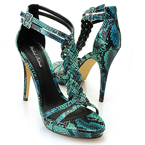 712-816 - Michael Antonio® ''Tenga'' Snake Print Braided T-Strap Sandals