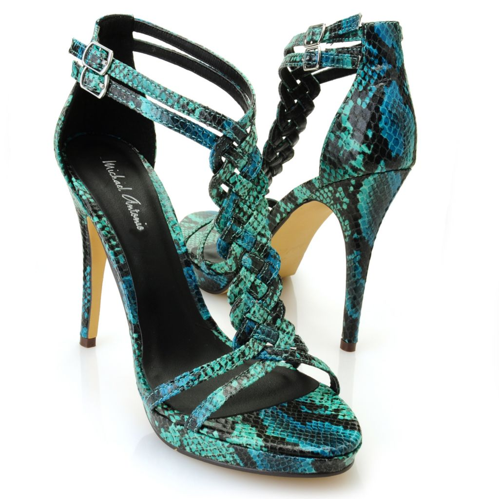 "712-816 - Michael Antonio® ""Tenga"" Snake Print Braided T-Strap Sandals"