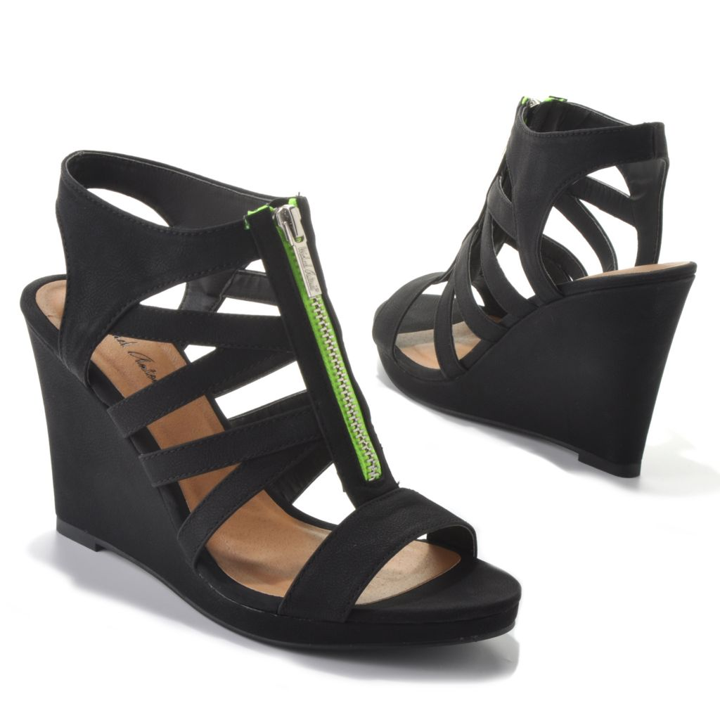 "712-821 - Michael Antonio® ""Glenna"" Zip Front Wedge Sandals"