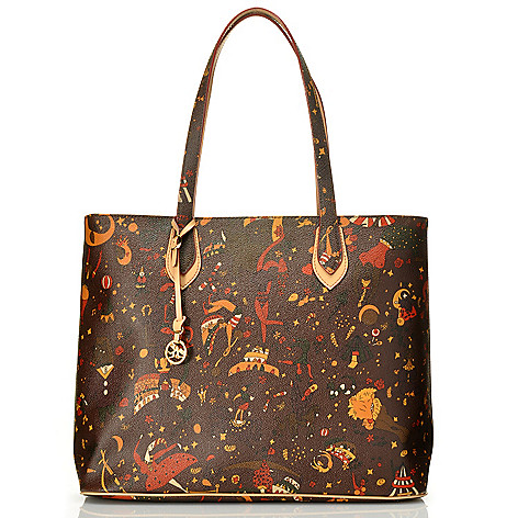 712-824 - Piero Guidi Coated Canvas Magic Circus Large Tote Bag