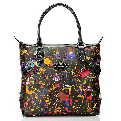 712-827 - Piero Guidi Coated Canvas Magic Circus ''Febe'' Tote Bag