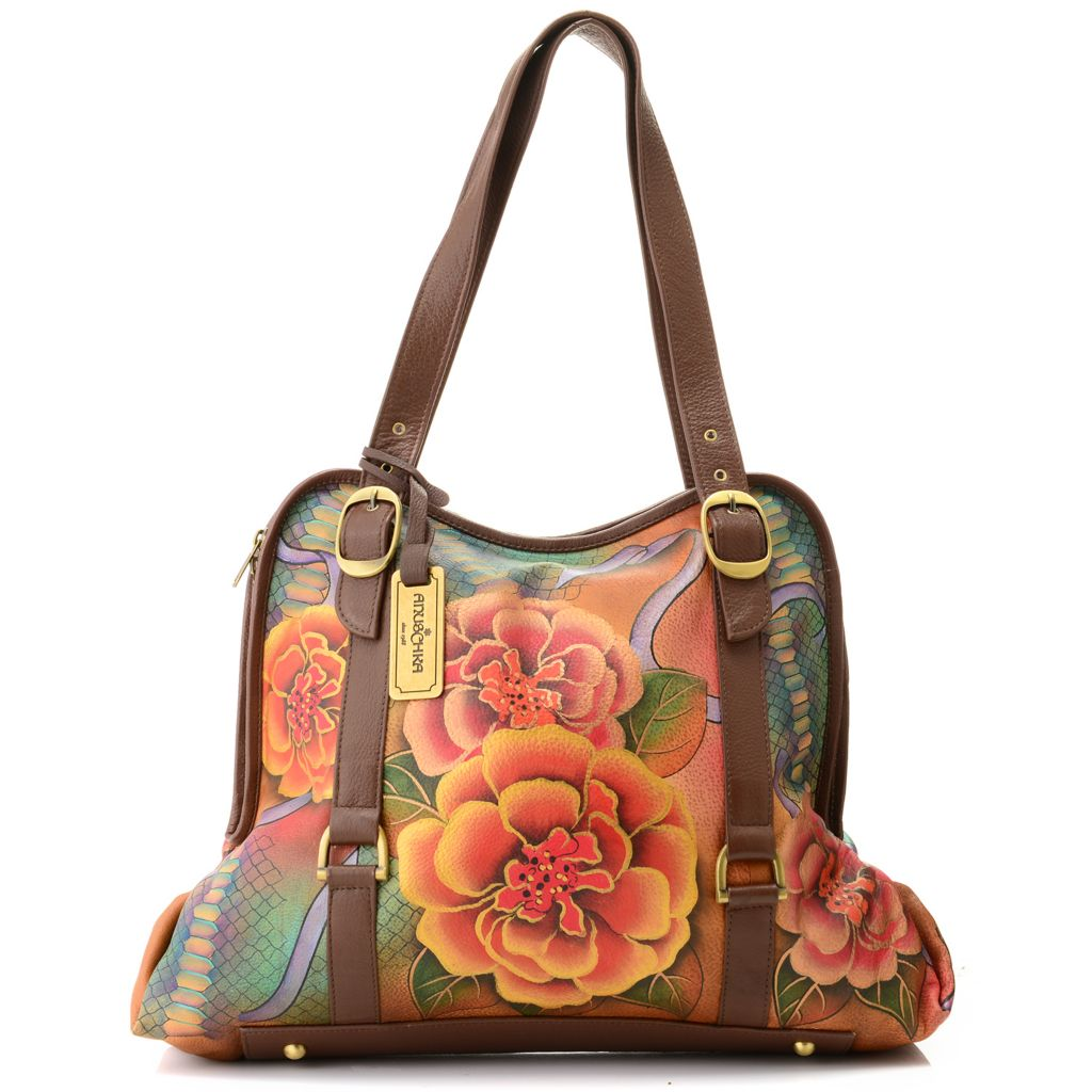 712-832 - Anuschka Hand-Painted Leather Large Zip Around Tote Bag w/ Coin Purse