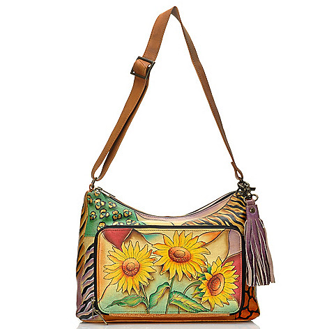 712-834 - Anuschka Hand-Painted Leather Tasseled Multi Compartment Organizer Handbag