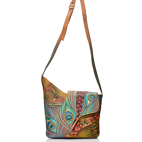 712-836 - Anuschka Hand-Painted Leather Asymmetrical Flap Cross Body Bag w/ Matching Wallet