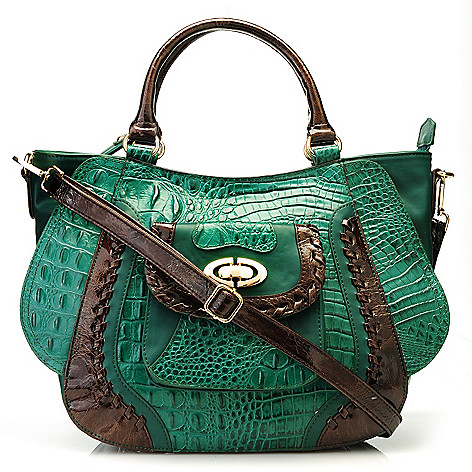 712-837 - Madi Claire Croco Embossed Leather Satchel w/ Removable Shoulder Strap