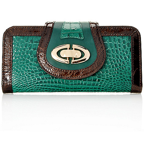 712-838 - Madi Claire Croco Embossed Leather Flap Over Wallet
