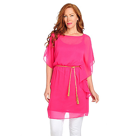712-842 - aDRESSing WOMAN Yoryu Fully Lined Caftan Dress w/ Braided Belt
