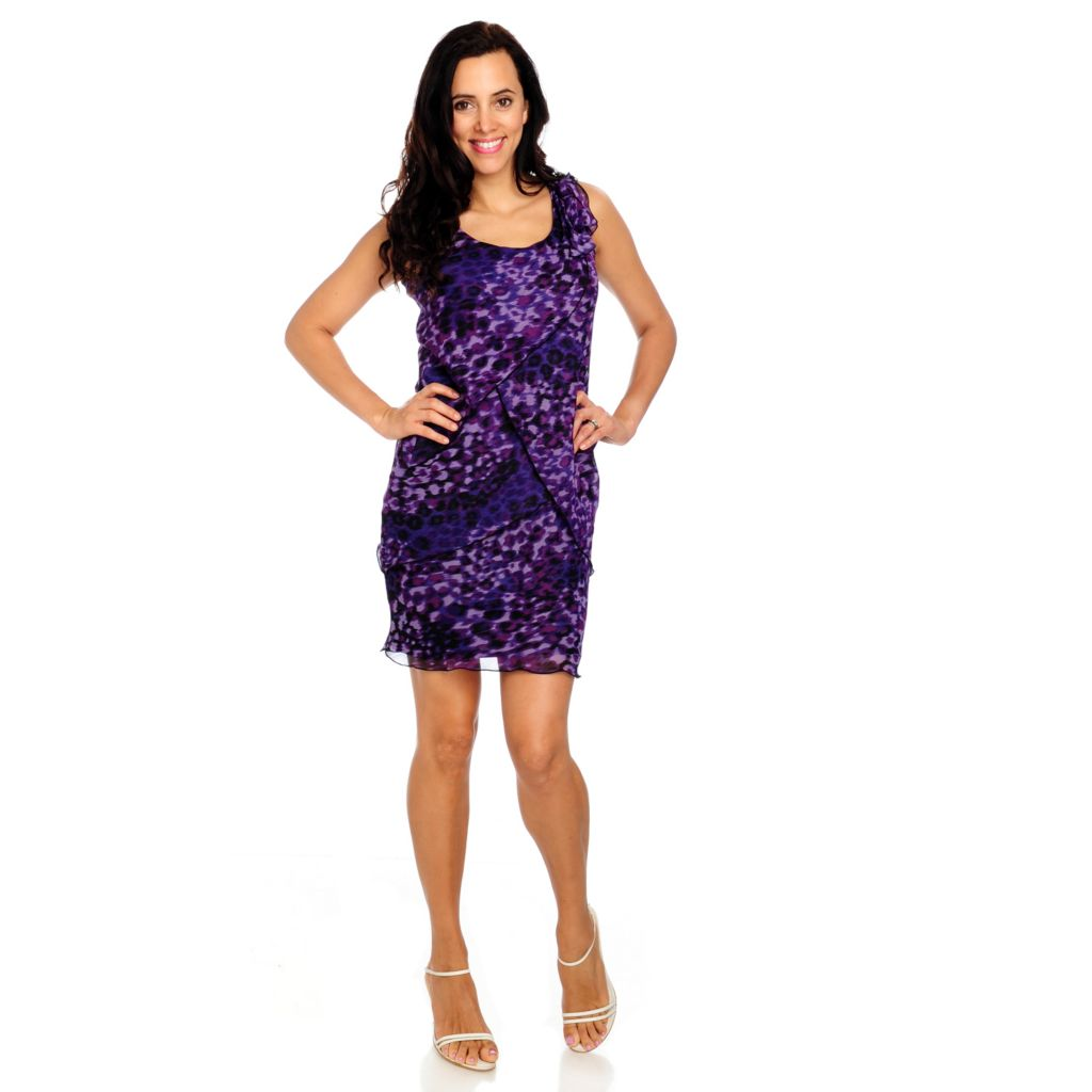 712-843 - aDRESSing WOMAN Printed Chiffon Sleeveless Fully Lined Tiered Dress