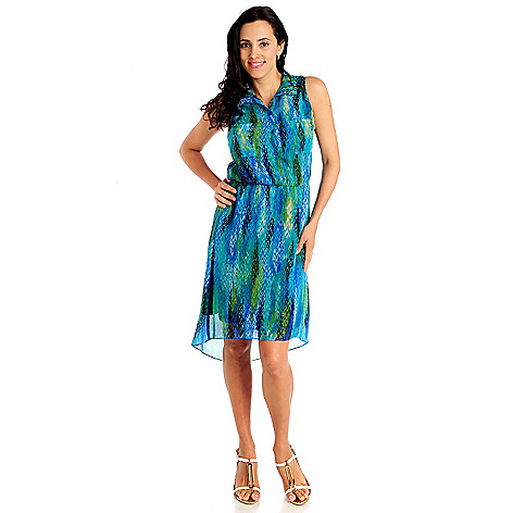 712-846 - aDRESSing WOMAN Printed Yoryu Sleeveless Two-Pocket Hi-Lo Shirt Dress