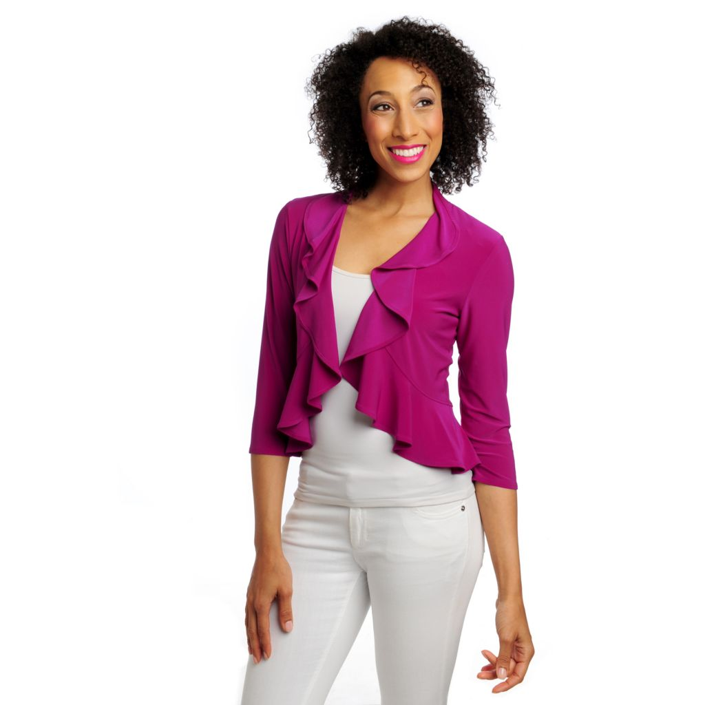 712-847 - aDRESSing WOMAN Stretch Knit 3/4 Sleeved Open Front Ruffle Cardigan Sweater