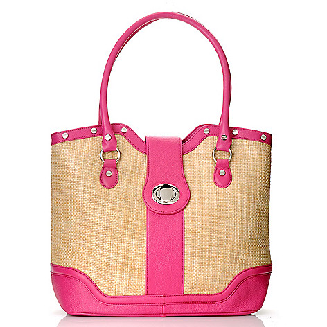 712-854 - Bodhi Coated Straw ''Candy'' Double Handle Tote Bag