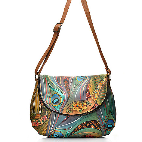 712-855 - Anuschka Hand-Painted Leather Large Convertible Bag w /Matching Wallet