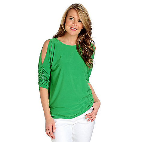 712-857 - Kate & Mallory Stretch Knit Ruched Sleeved Cold Shoulder Top