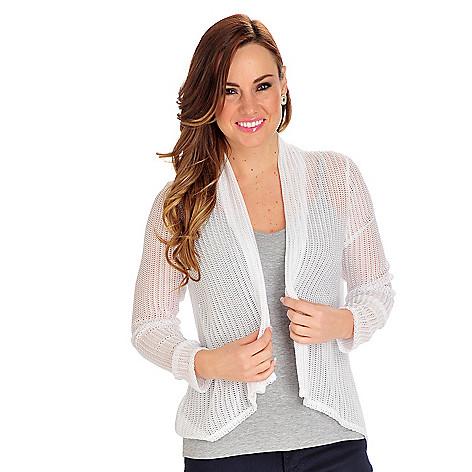 712-861 - Geneology Open Knit Herringbone Design Long Sleeved Open Cardigan Sweater