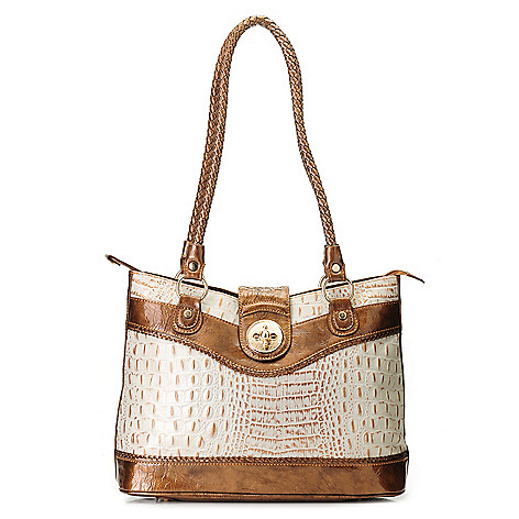 712-869 - Madi Claire Croco Embossed Leather ''Estelle'' Double Rope Handle Tote Bag