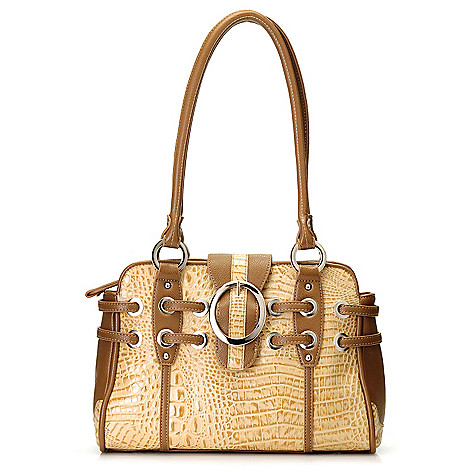 712-873 - Madi Claire Croco Embossed Leather Double Handle Buckle Detailed Satchel