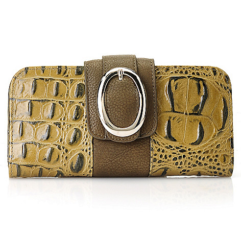 712-874 - Madi Claire Croco Embossed Leather ''Simone'' Buckle Detailed Wallet