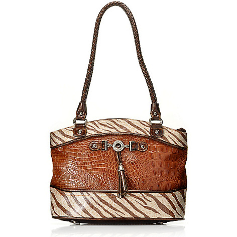 712-875 - Madi Claire Croco Embossed Leather ''Samantha'' Zebra Print Tote Bag